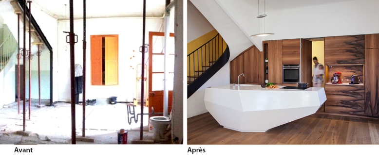 cuisine sur mesure en noyer et lot central charlotte raynaud. Black Bedroom Furniture Sets. Home Design Ideas