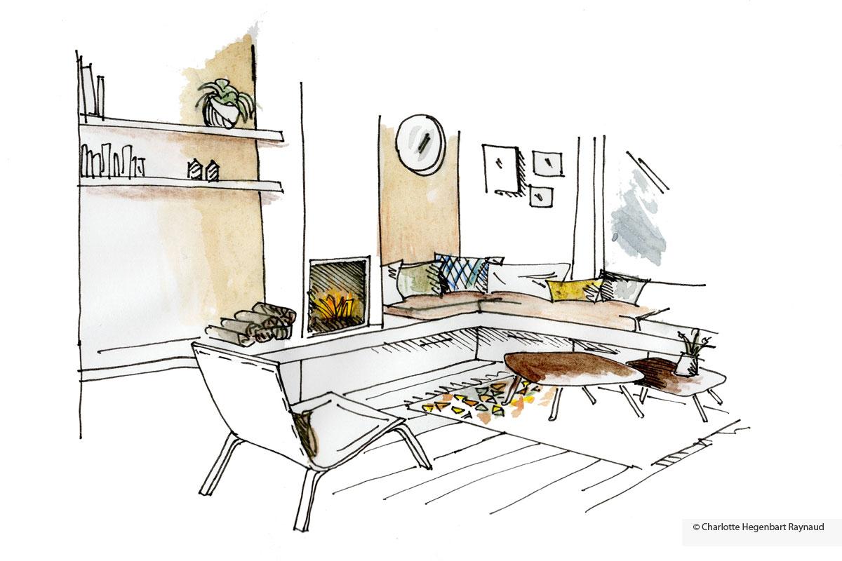 Croquis salon design interieur hegenbart raynaud for Croquis salon
