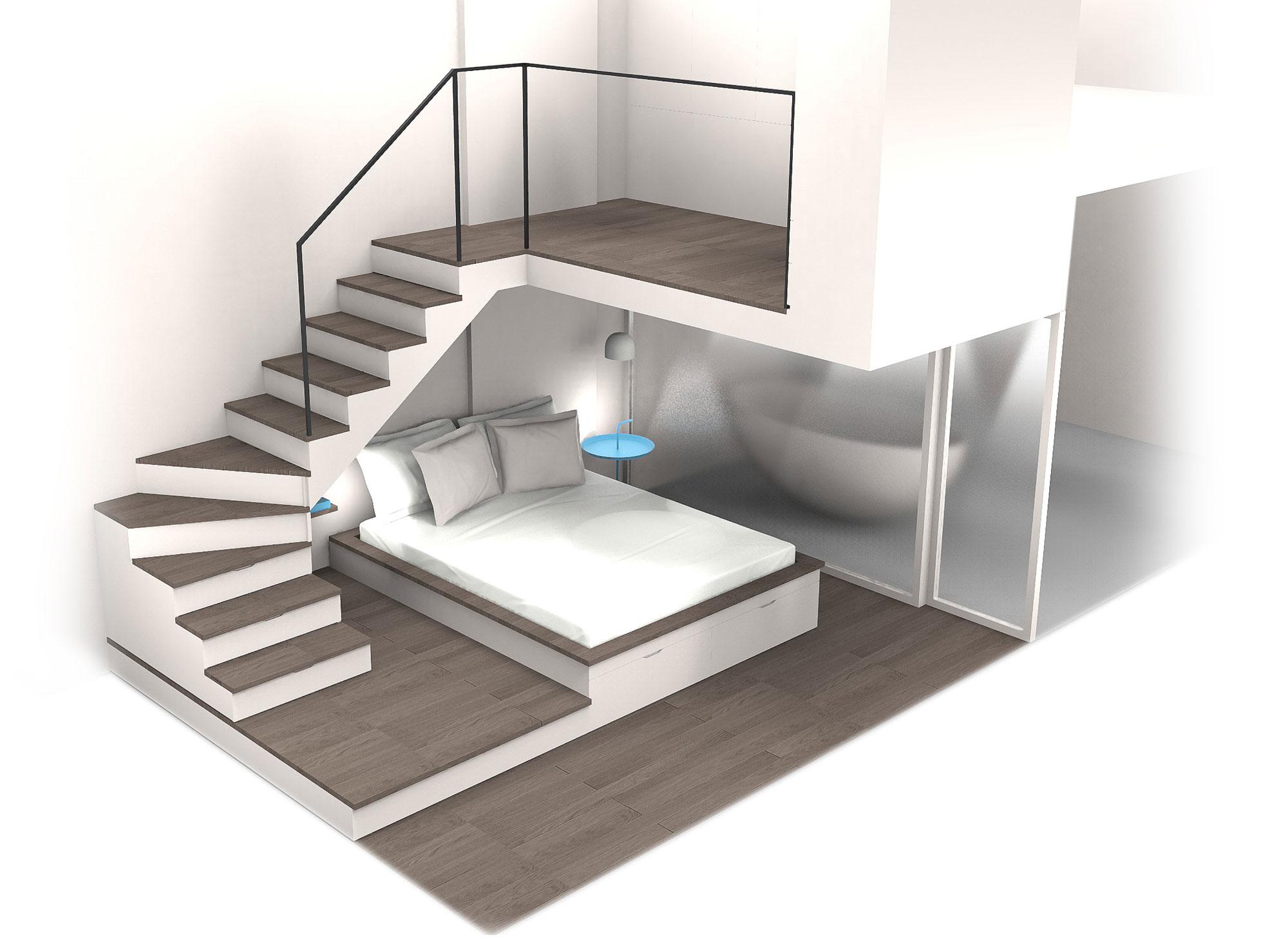 dressing sous mezzanine de lit et dressing sous pente amnag dans une partie des combles rnove. Black Bedroom Furniture Sets. Home Design Ideas