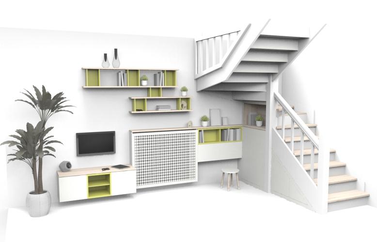 agencement intérieur escalier mur salon cache radiateur