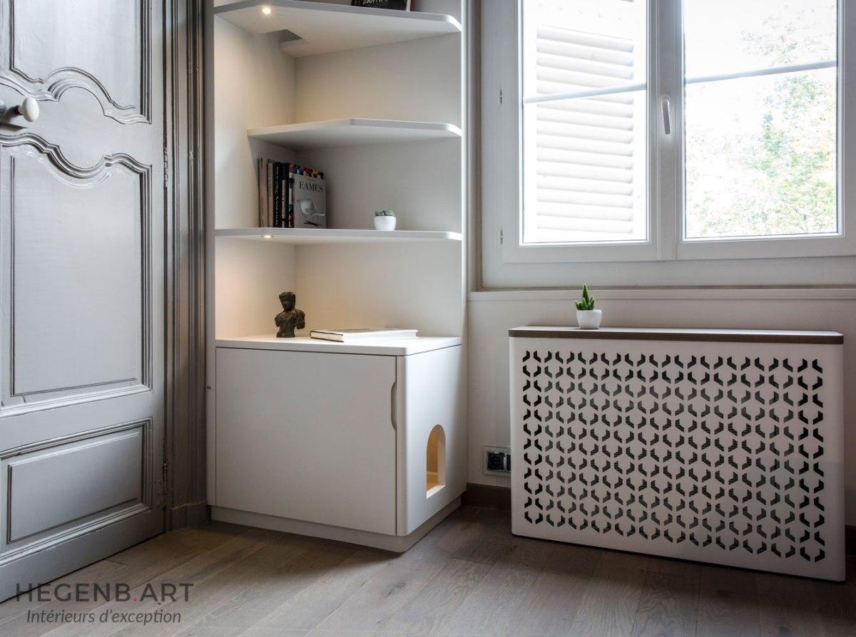 biblioth que et arbre chat sur mesure rangement pratique. Black Bedroom Furniture Sets. Home Design Ideas