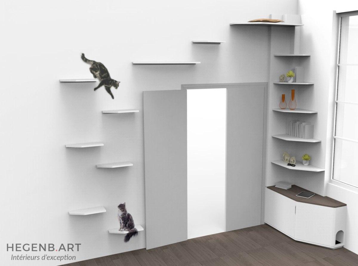 id e d am nagement sur mesure pour chat rigolo et esth tique qui combine biblioth que by. Black Bedroom Furniture Sets. Home Design Ideas